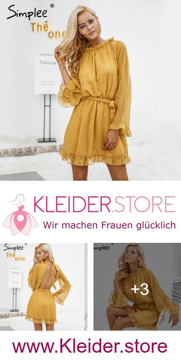 save off 7dcc3 31ef9 Abendkleid mit tiefen Rückenausschnitt in Gelb, Schwarz und ...