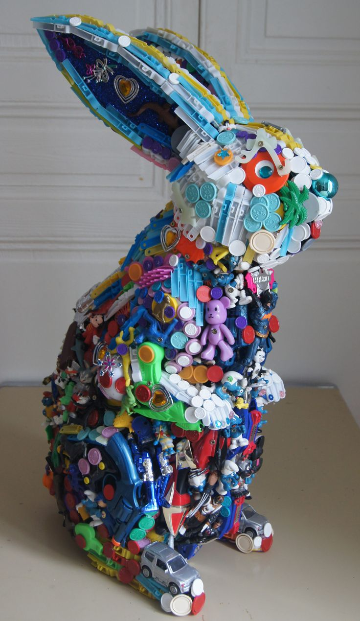 Rabbit ~ Robert Bradford recycled toy art