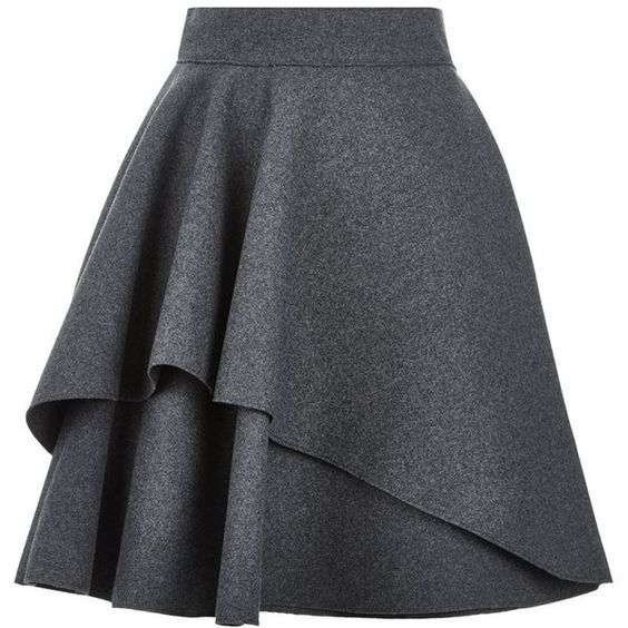 Alexander McQueen Double Layer Flare Skirt found on Polyvore featuring skirts, mini skirts, ruffle skirt, layered skirt, ruffle mini skirt, mini circle skirt and short flared skirts: