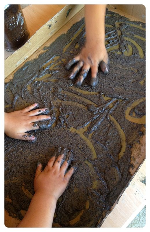 """Working our way through """"Diary of a Worm"""", it was time to talk tunneling. Where to begin? Dirt Paint. It was simple. 1 cup Flour. ..."""