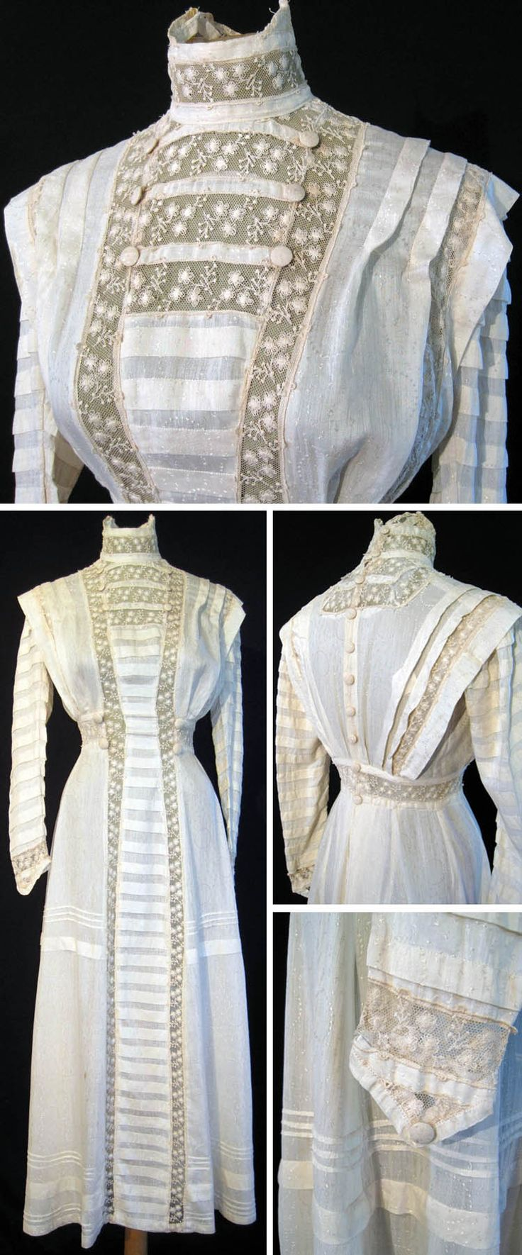 dress early 1900s silk with satin thread embroidered in circles dots front has full length. Black Bedroom Furniture Sets. Home Design Ideas
