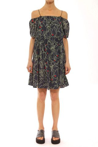 Faces print tiered off shoulder day dress red lips – $190