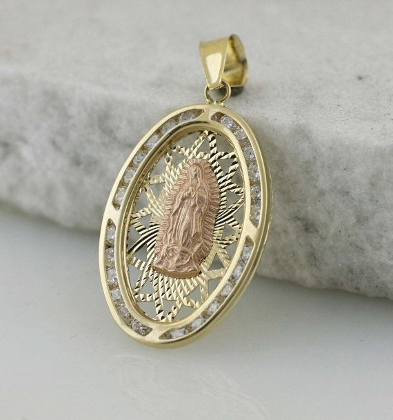 14k Guadalupe Medal 14k Gold Our Lady Of Guadalupe Necklace 14k Gudalupe Tri Color Medal With Cz Large Virgen De Guadalupe Oval Necklace Gold Models Guadalupe Medals