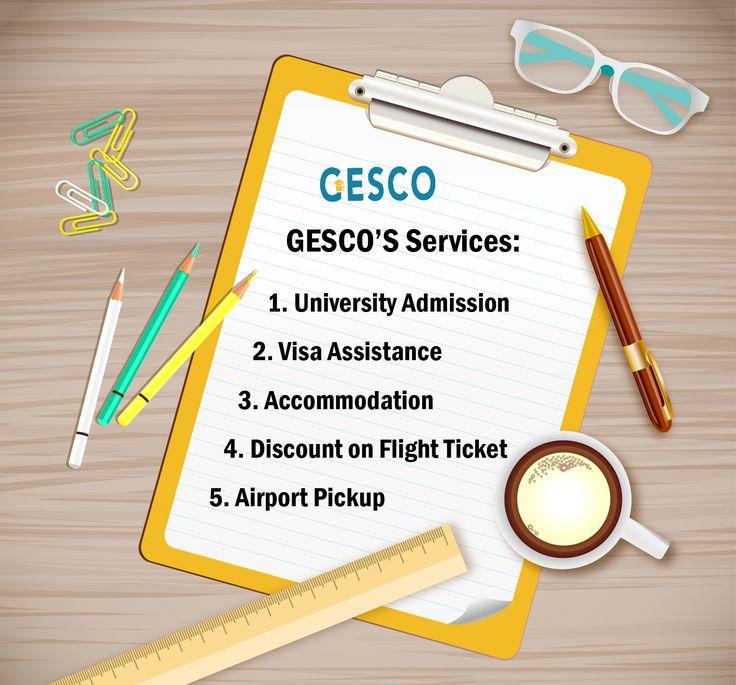 GESCO'S Services  1. University Admission 2. Visa Assistance 3. Accommodation 4. Discount on Flight Ticket 5. Airport Pickup GESCO Study Abroad #UK #USA #Spain #Cyprus #Canada  Mecca St. Al-Hijaz Towers (158) office (603)  065562033/065562022/065562055 #GESCOJo #Jo #Amman #Jordan #StudyAbroad