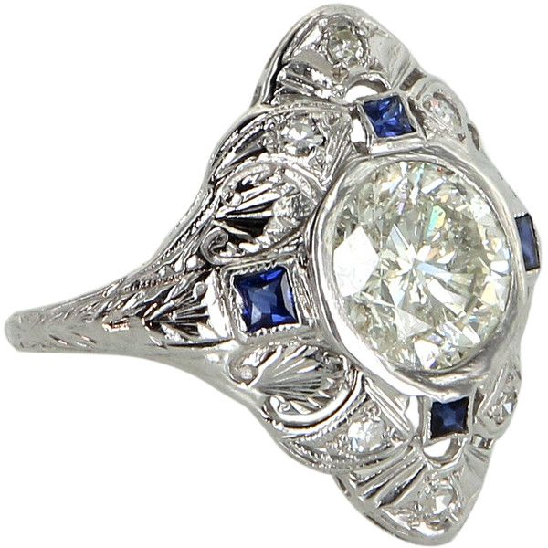 Pre-Owned Antique Deco 2.28ct Diamond Sapphire Cocktail Ring Platinum (10,705 CAD) ❤ liked on Polyvore featuring jewelry, rings, platinum, pre owned engagement rings, diamond cocktail rings, engagement rings, antique sapphire ring and sapphire engagement rings