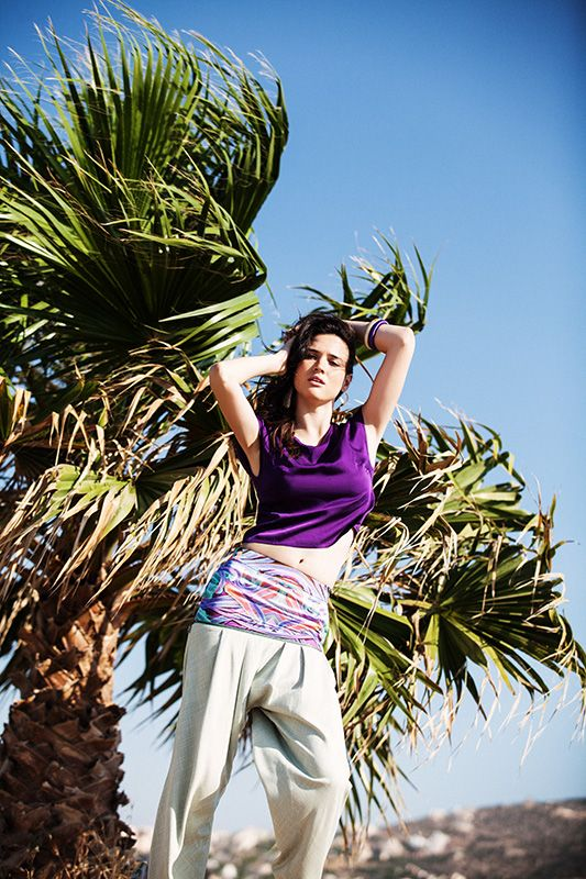 Purple cropped bamboo top with open back (TSS155A) / Harrem bicolor bamboo pants with decorative zip (PSS151A) Menesthò visit www.menestho.com to pre-buy #menestho #ethical #sustainable #fashion #resortwear #ss15
