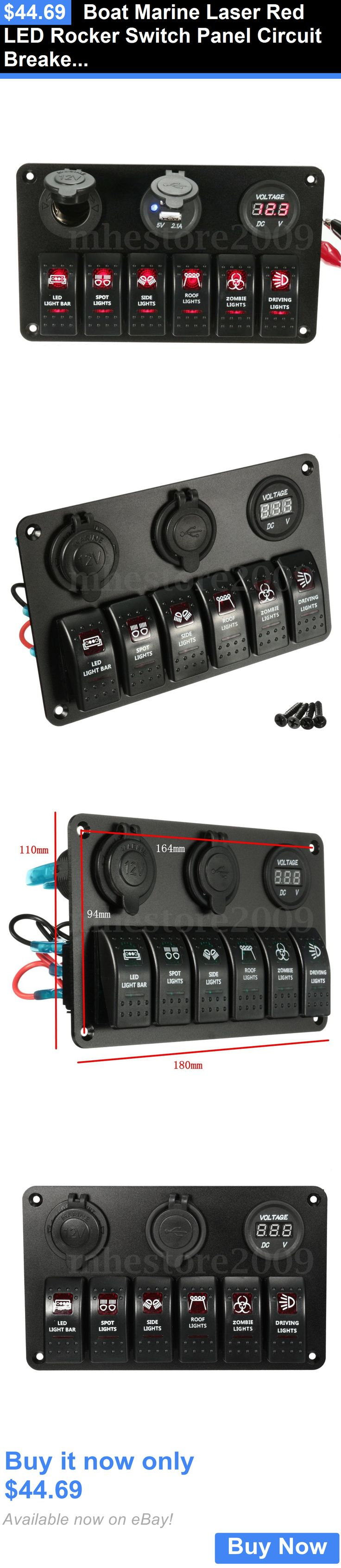 boat parts: Boat Marine Laser Red Led Rocker Switch Panel Circuit Breaker Usb Charger Socket BUY IT NOW ONLY: $44.69