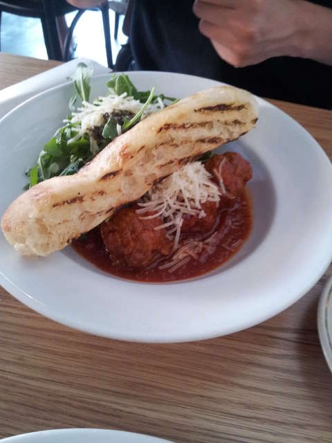Spiced Braised Meatballs w/ Grilled Turkish Bread, Parmesan- The Cornershop, Yarraville