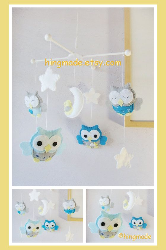 Baby Mobile Owl Mobile Peacock Blue And Gray Owls