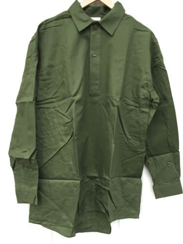 Swedish-army-green-cotton-pull-over-field-shirt-NEW-Size-39-UK-US-Size-15-5-M
