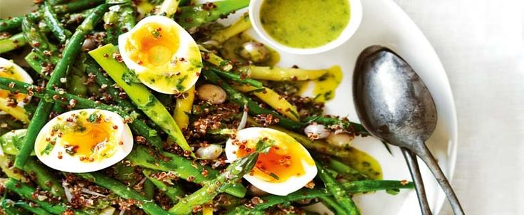 Combine different varieties of spring beans in this simple salad, with quinoa and a tasty Dijon & tarragon dressing.