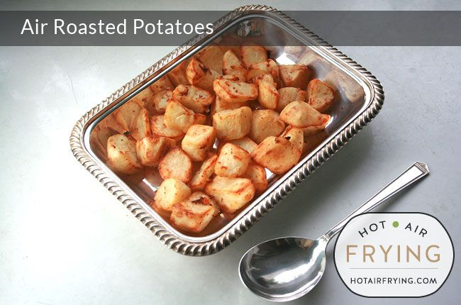 These air roasted duck fat roasted potatoes come out crispy, crunchy and golden-brown on the outside, and moist and fluffy on the inside. When one of th