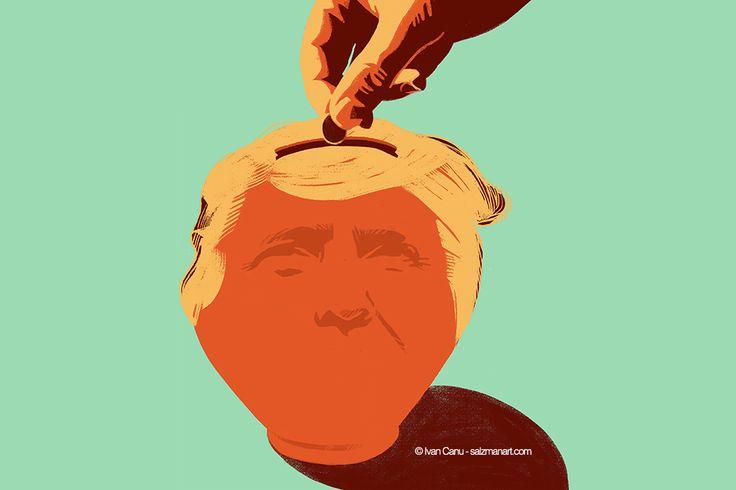 @Ivan Canu salzmanart.com client: die Zeit: Who finance Trump? (Trump's series) #editorial #trump #politics #planet #magazine #earth