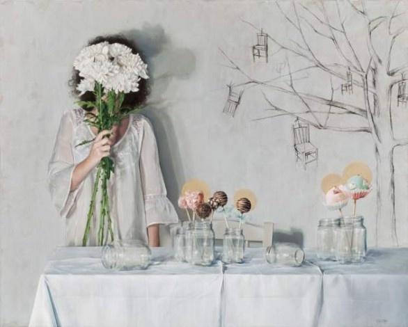 Elisa Anfuso, Delle tentazioni e di altre consuetudini, 2012, olio e pastelli su tela, cm 100x80