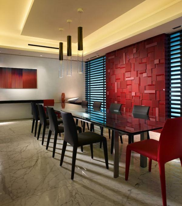 Contemporary Modern Retro Red Dining Room By Pepe Calderin Design