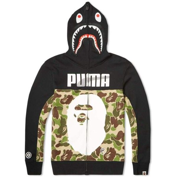Puma x BAPE Shark Hoody ❤ liked on Polyvore featuring tops, hoodies, camo print hoodie, camo hoodies, camo top, camouflage hooded sweatshirt and camouflage top