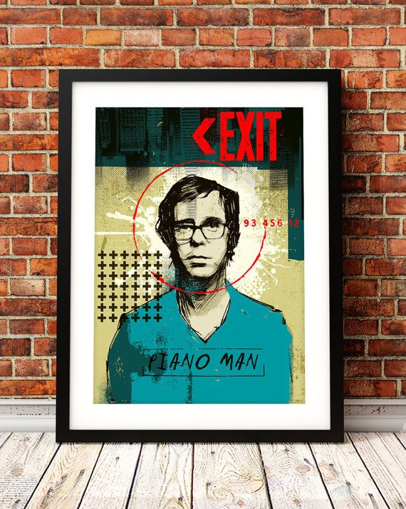 Ben Folds portrait print.  This illustrative print would make a great gift for any fan of the singer/songwriter Ben Folds. The print features a