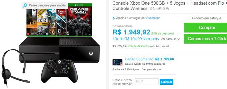 Console Xbox One 500GB  5 Jogos  Headset com Fio  Controle Wireless << R$ 175493 >>