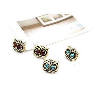4 Pairs Of Earrings Lovely Rhinestone Eyes Owl Ear Stud Set For Women at Banggood