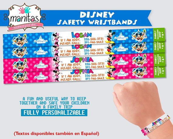 Daniel, Marby and Valen* welcome you to ManitasStudio! *(We are a very creative family from the venezuelan andes, and were delighted to offer you our products!)  ►Disney World Park Safety Wristbands - 40 pack ◄  These fun wristbands are a great and useful way to keep your children together in a family trip and to make sure they have a way to reach you if get lost. They are showerproof (not for underwater use) and the contact phone numbers are laser printed, so you can trust they will not…
