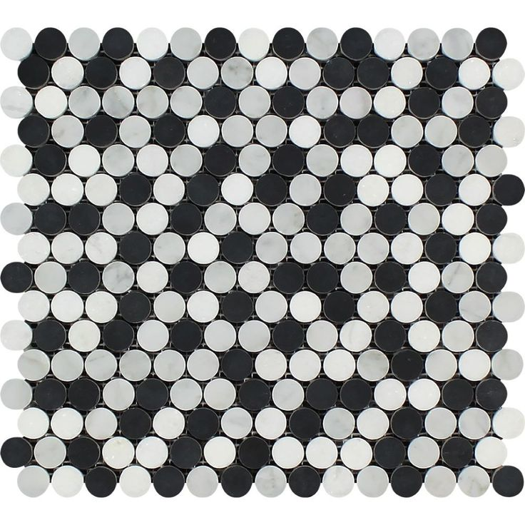 Sample Stainless Steel Carrara White Marble Stone Mosaic: Thassos White Honed Marble Penny Round Mosaic Tile