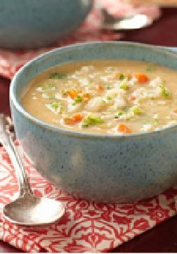 Velvety Vegetable-Cheese Soup  This cheesy vegetable soup is as easy as it is velvetymade with prepared broth, a package of frozen broccoli and carrots, and cubed VELVEETA.