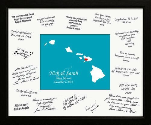 11 Destination Wedding Guest Book Alternative Ideas: Personalized Map & Signature Mat -  We've all seen the engagement photo with signature mat commonly used as a guest book alternative.  This is a unique twist on that idea that's tailor-made for destination weddings.  You can customize this with a map of your wedding destination and the background in your wedding colors. *** great idea for a cruise wedding, centre could be a pic of the ship and cruise itinerary map. ***