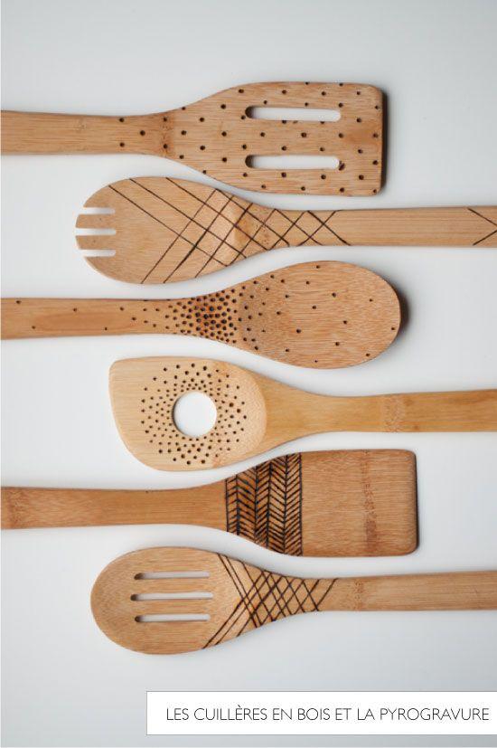cuillère bois pyrogravure // Design Mom