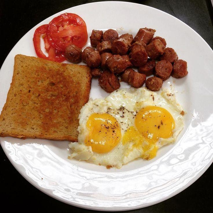 About time I make English Breakfast.  #English #breakfast#sausage#eggs #toast#cheflife #foodtalkindia #foodtalk #kitchenscenes #food