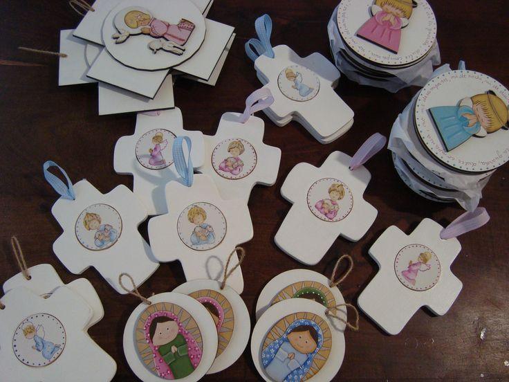 souvenirs para comunion y bautismo en madera pintados a mano ...