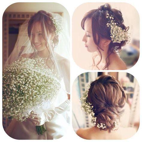 結婚式当日の髪型や、前撮り/フォトウェディングの髪型をお悩みのプレ花嫁さん!今、おしゃれ花嫁さんの間で人気上昇中の 「かすみ草」…
