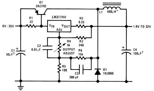 LM317 Variable Switch Mode Power Supply (SMPS) Circuit