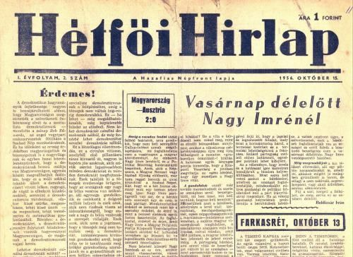 Hétfői Hírlap - 1956 október 15