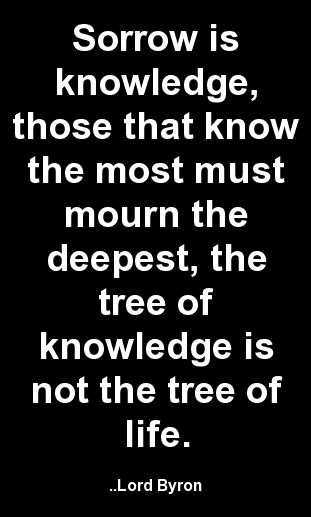 Sorrow is knowledge, those that know the most must mourn the...  Lord Byron