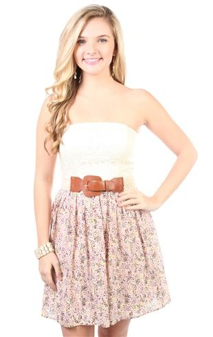 Deb Shops #floral printed belted casual #dress