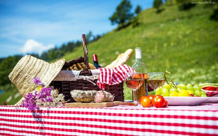 Owoce, Kwiaty, Wino, Koszyk, Kapelusz, Piknik, Łąka
