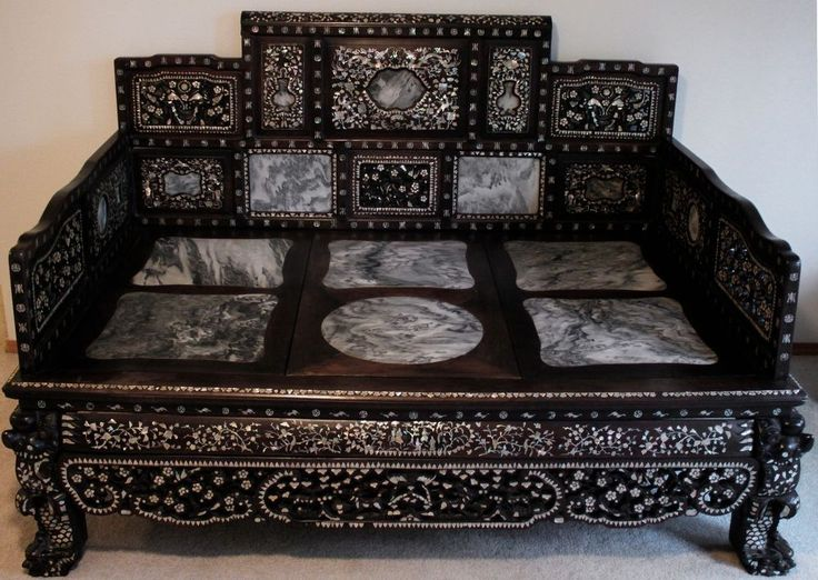 Antique Bed: Antique Hardwood Chinese Opium Bed With Mother-of-Pearl