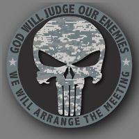 "Punisher Camo Army Military Die Cut Decal Sticker Car Truck 4"""