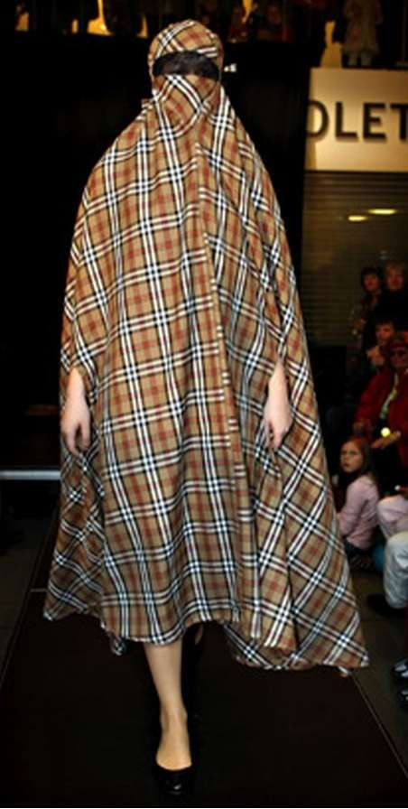 "Burberry Burqua.  There's nothing religious about ""Islam"". It's about 14% ""religiousness"" the rest is STRATEGY of World Domination. #burqa-porn SICK OF IT !!!"
