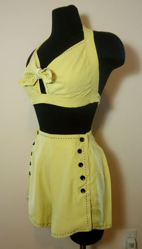 Killer vintage 40s 1940s sunshine yellow rayon playsuit by Rockdollvintage, $300.00