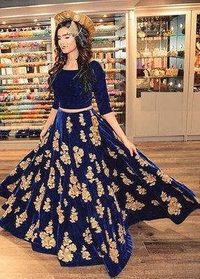 e98a7915fb Blue embroidered velvet semi-stitched lehenga in 2019 | g | Party ...