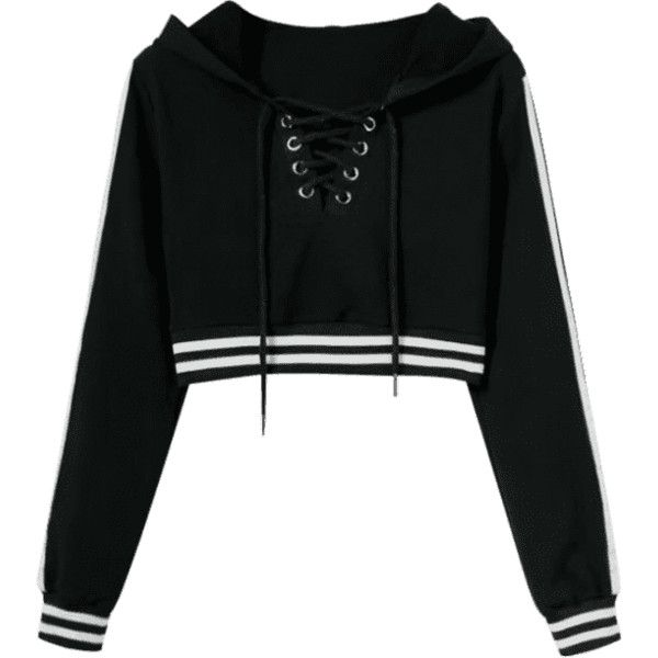 Striped Cropped Lace Up Hoodie (€23) ❤ liked on Polyvore featuring tops, hoodies, shirts, sweatshirts, cropped hoodies, cropped shirts, hooded sweatshirt, lace up hooded sweatshirt and lace up crop top