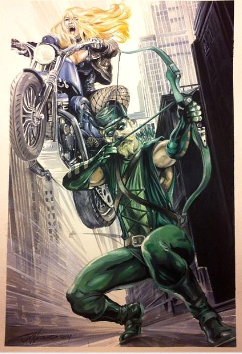 JK Woodward Green Arrow Black Canary commission painting 2014