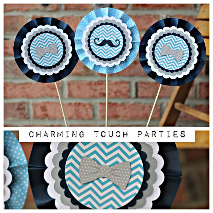 Boy / Bowtie / Mustache Birthday Party centerpiece. Little Man party decoration. Set of 3. Fully assembled and customizable. by CharmingTouchParties on Etsy