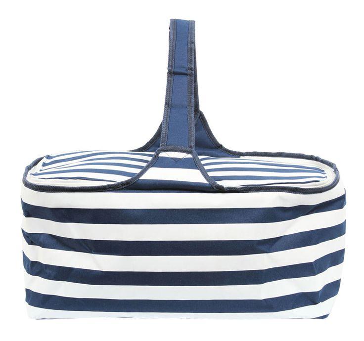 Latitude 38 Nautical Stripe Insulated Picnic Basket