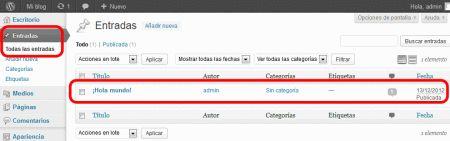 WordPress te permite agregar contenido a tu página web por medio de entradas o artículos. Crear una entrada en tu pagina web con wordpress es tan fácil como crear un documente en Microsoft Word. WorPress te brinda un editor que te facilita el agregar objetos y texto a tu página web.  El siguiente enlace te lleva a un tutorial que te muestra cómo crear una entrada en WordPress.    http://www.comocrearunapaginawebefectiva.com/crear-entrada-en-wordpress