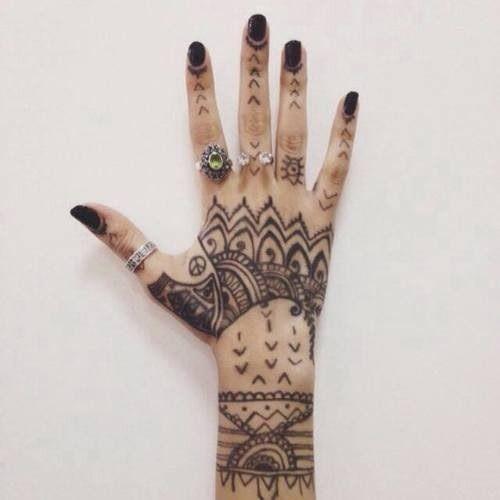 black, black nails, hand tattoos, rings, tattoo