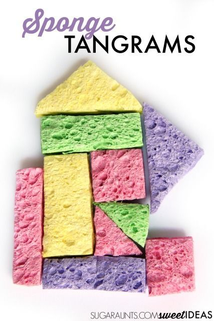 Sponge tangrams are an easy DIY and a fun way to build visual perception and visual motor integration skills with kids.