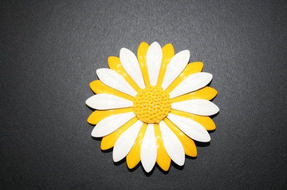 vintage orange and white enamel flower pin by plasticmonkeyface