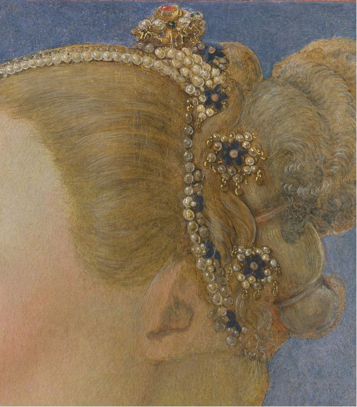Piero del Pollaiuolo (Piero di Jacopo Benci), Portrait of a Woman, detail